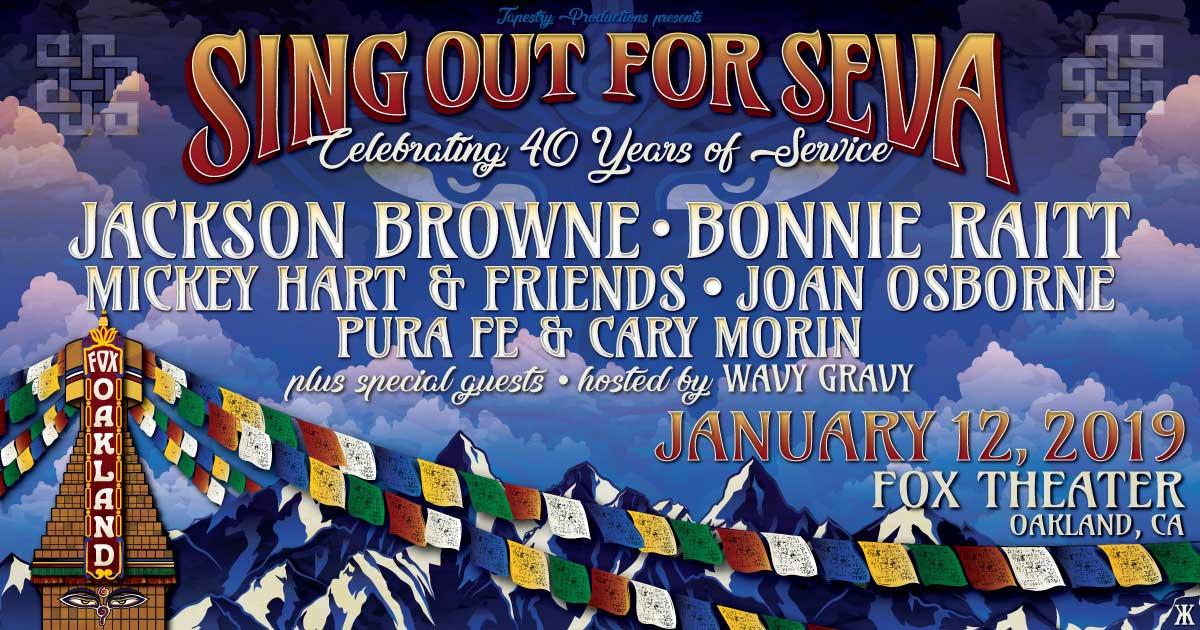 Jackson Browne, Bonnie Raitt, Mickey Hart and Friends, Joan Osborne, Pura Fe and Cary Morin! Saturday, January 12, 2019, 8:00 PM at The Fox Theater in Oakland